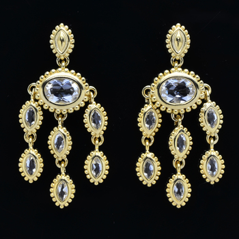 Gold Plated over Sterling Silver Crystal Chandelier Oval Earrings