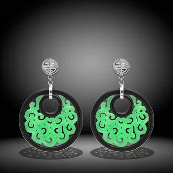 Carved Jade and Black Agate Dangle Drop Earrings