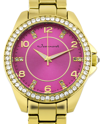 Jeanneret Rosetta Ladies Watch - Gold Bracelet, Gold Case, Pink Dial, Gold Accents