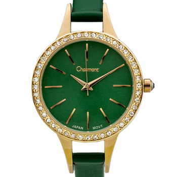 Chaumont Kiri Ladies Watch - Emerald Green Leather Strap, Emerald Green Dial, RG Case