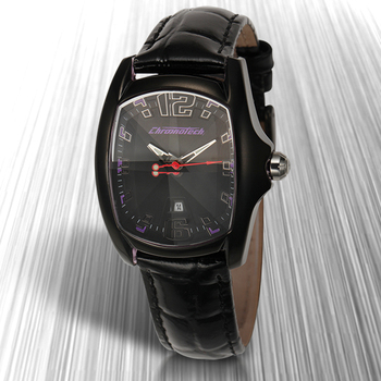Chronotech Ladies 3hand 5 Watch - Black Strap, Black Case, Dark Purple Hands, Black Crown with Crystal