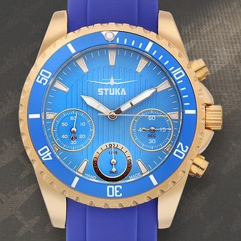 Stuka Apollo Chronograph Mens Watch - Blue Silicone Strap, Blue Dial, IPG Plated