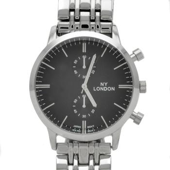 NY London Silver Bracelet- Silver Case & Grey Face Mens Watch