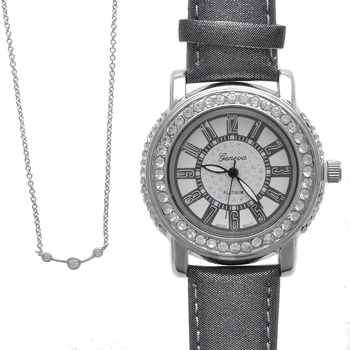 Perfect Match--Geneva Platinum Ladies Watch and 14K White Gold Plated Bar Cz Necklace 16""