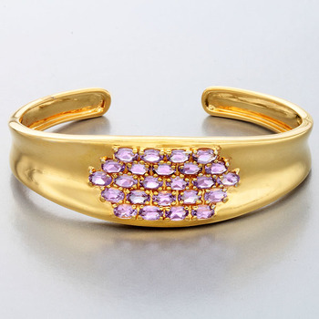 5.2 CTTW Amethyst Cuff Bangle bracelet 18K Yellow Gold Over Sterling Silver