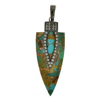 Sterling Silver Blue Mohave Turquoise Arrowhead Pendant