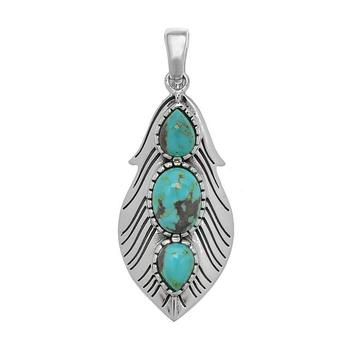Sterling Silver Turquoise 3-stone Leaf Pendant
