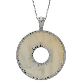 Sterling Silver Mother of Pearl Sunburst Pendant