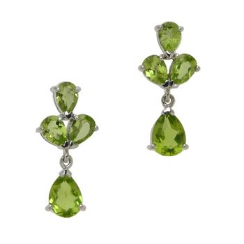 Sterling Silver 4.64cwt Peridot Drop Earrings