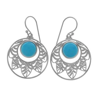 Sterling Silver Turquoise Leaf Drop Earrings