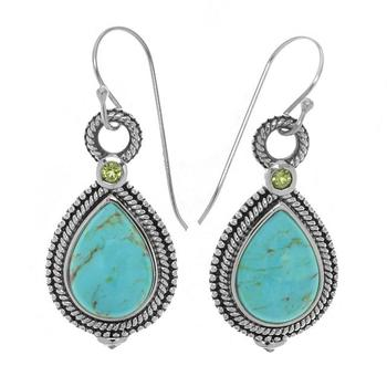 Sterling Silver Turquoise & Peridot Rope Textured Earrings