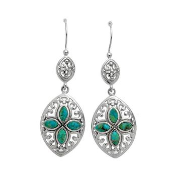 Sterling Silver Turquoise Filigree Drop Earrings