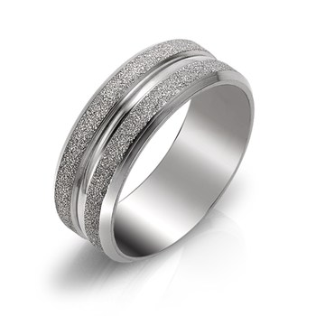 Struttura Men's Premium Stainless Steel Sand Blasted border Band Ring Size 10