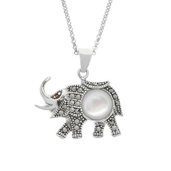 Sterling Silver Marcasite, Garnet & Mother of Pearl Elephant Pendant