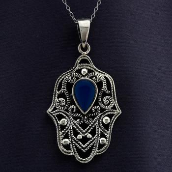 Hamsa Lapis Lazuli Solid Sterling Silver Pendant