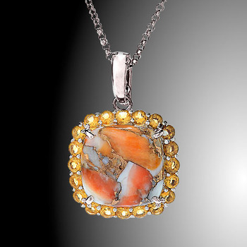 Sterling Silver Spiney Oyster & Citrine Halo Pendant