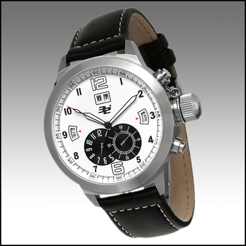 32° Gents Elevation Automatic Multi-Function Black Leather Strap/White-Black Dial