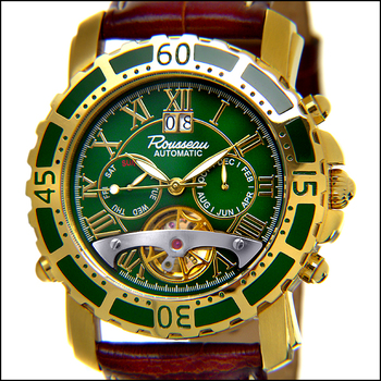 Rousseau Gents Tableau Automatic Multi-Function Brown Leather Strap/Green Dial