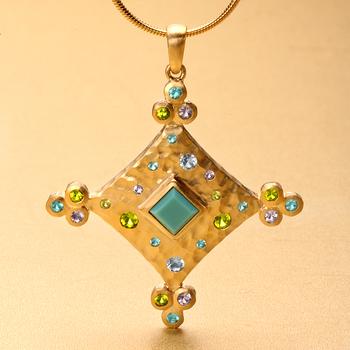 Sparkling Cz & Turquoise Square Pendant