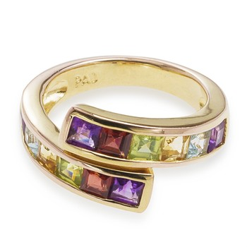 Gold over Sterling Silver Multi Cz Ring Size 6