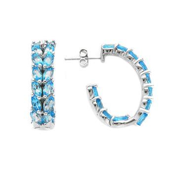 7.68CWT Genuine Swiss Blue Topaz Marquise Inside out Hoop Earrings
