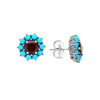 Genuine Sleeping Beauty Turquoise & Garnet Halo Stud Earrings