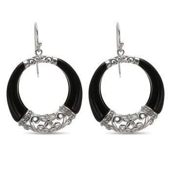 Sterling Silver Black Agate Dangle Circle Earrings
