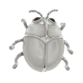 Sterling Silver White MOP Beetle Pin/ Pendant