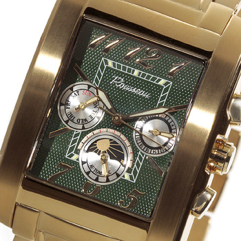 Rousseau Gents Pathos Automatic Multi-Function Gold Tone/Hunter Green-Silver Dial