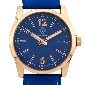 Blue Casual Leather Strap, Gold Case Men's Watch