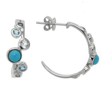 Sterling Silver Turquoise & Topaz Half Hoop Earrings