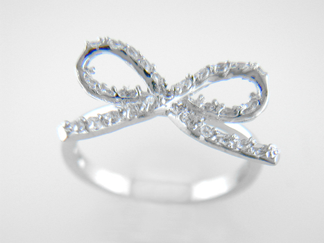 Sterling Silver CZ Ribbon Bow  Ring