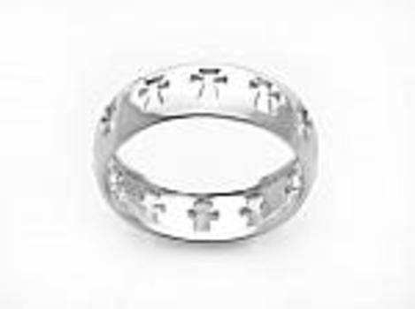 Mens Cut Out Cross Ring Size 9