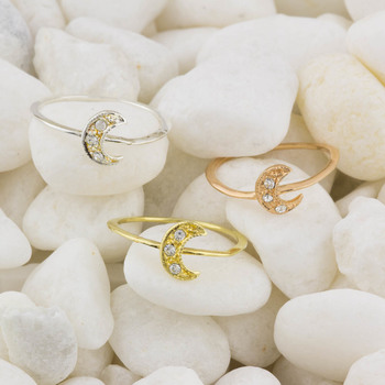 Rose Gold Yellow And White Tone Moon Charm Rings SZ 6          With White CZ Accents Size 6