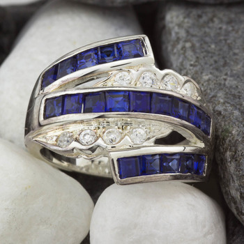 Sterling Silver Created Sapphire Bypass Ring Size 7