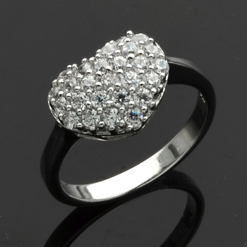 Silvertone Pave Heart Ring Size 8