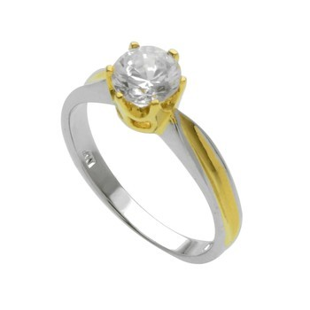 Two-Tone Sterling Silver CZ Ring Size 7
