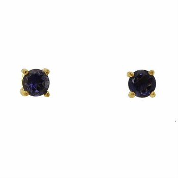 14k Gold over Sterling Silver Iolite Stud Earrings