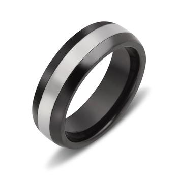 Struttura Men's Black Ceramic & Tungsten Carbide Lane Ring ~ Size 11