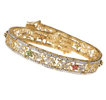 14K over Sterling Silver Multi Gemstones Bracelet