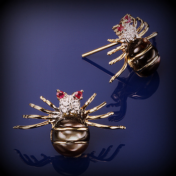 14K Gold Black MOP Diamond and Ruby Spider Earrings