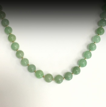 18 Inch Jade 8mm Bead Necklace in Sterling Silver
