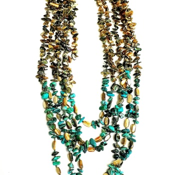 Multi Strand MOP and Turquoise Layered Long Necklace