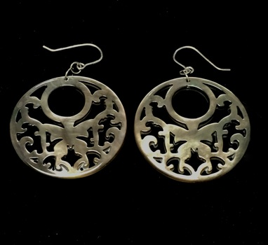 Sterling Silver Carved Mother of Pearl butterfly Motif