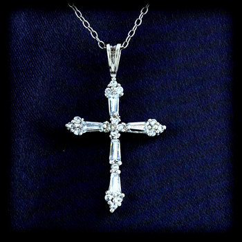 Sterling Silver Shimmering Cross Pendant with Chain