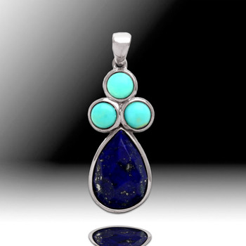 Lapis and Turquoise Pendant with Chain