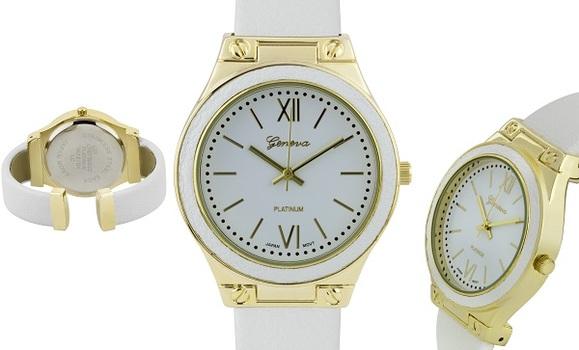 Leather Bezel, Hinged Bracelet,  Ladies Watch