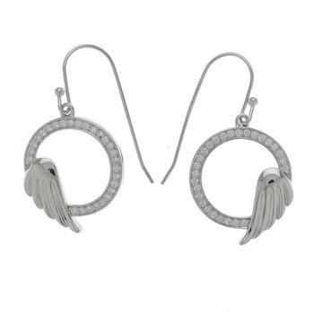 Sterling Silver Wings In a Circle Earrings
