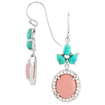 Pink Opal and Turquoise Dangle Drop Earrings