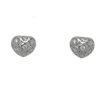 Sterling Silver CZ Heart Stud Earrings